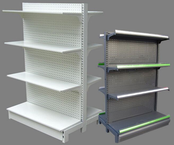 White / Gray Supermarket Display Shelving 100KGS 900mm Double - sided